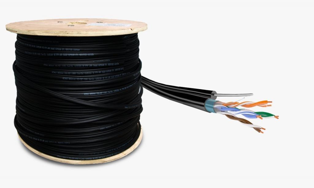 Кабель TaigaKabel U/UTP, 4PR*2, 24AWG, Cat.5е, CU, PE, Steel wire, Outdoor